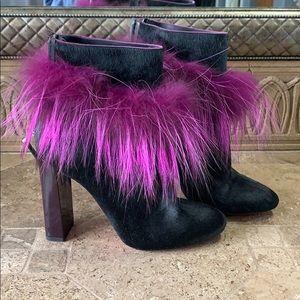 Fendi black fur booties with pink fox trim